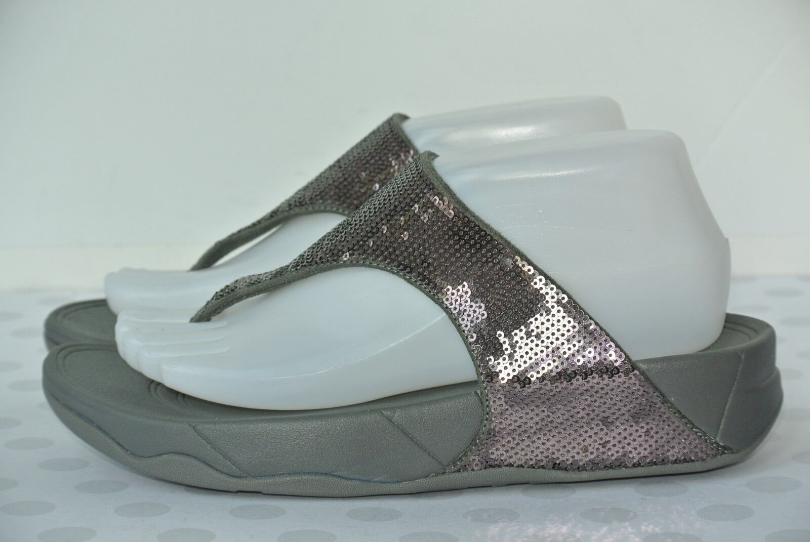 NEW FitFlop Electra Classic Womens Comfort Sz 8 Pewter Sequin Comfort Womens Sandals $130 0446a3