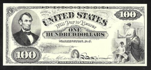 Face of a Proposed Series 1874 $100  U Proof Print by the BEP S Note