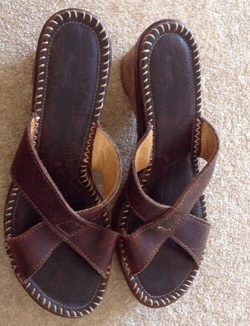 The Art Company Brown Leather Mules, Wedges Size 7
