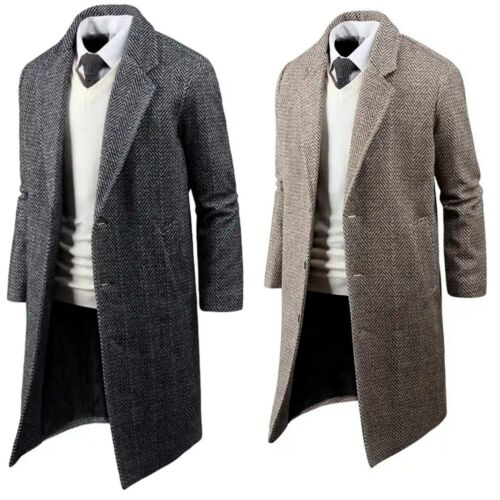 Mens Stylish Herringbone Single Coat Jacket Jumper Blazer Outwear Tops B08 XS-M