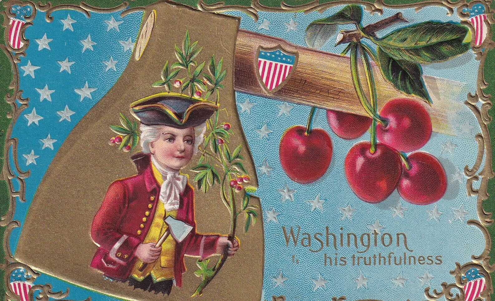 AS: Young Washington with cherry branch & ax, Gold detail, 1900-10s, WINSCH