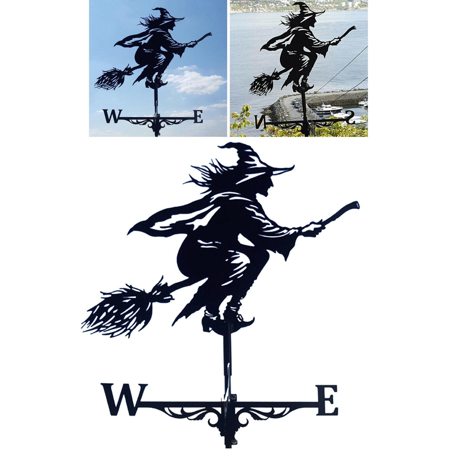 Metal Black Witch Weathervane Outdoor Mount Weather Vane Roof Fence Decor 30''