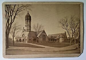 NEWTON MA 1888 Baptist Church Cabinet Card Photograph George R. Hovey Signed