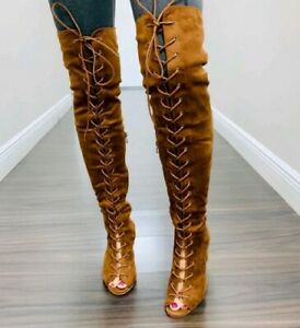 chunky heel lace up booties open toe