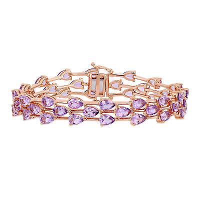 Rose Plated Sterling Silver Pear-Cut Rose de France 3-Row Bracelet