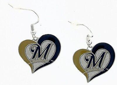 MLB Swirl Heart Team Dangle Earrings - Pick Your Team