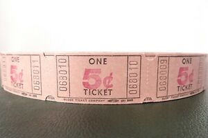 Vintage-Roll-of-5-Raffle-Tickets-from-Globe-Ticket-Company-Full-Roll-Never-Used