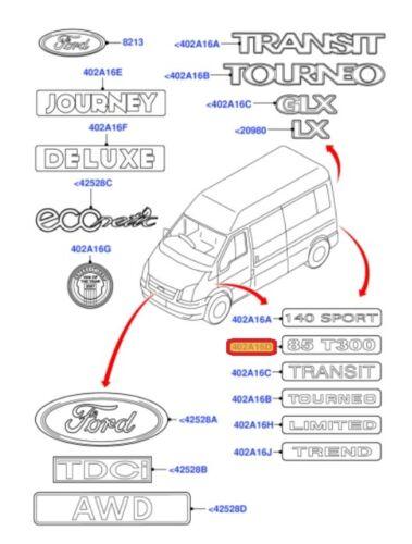 NEUF origine FORD TRANSIT 2011-2014 porte arrière 125 T350 inscription badge emblème