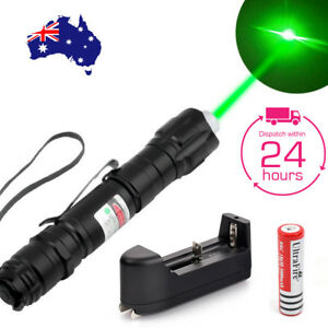 AU Powerful Military Green Laser Pointer Pen Set + Rechargeable 18650 Battery  607111084655