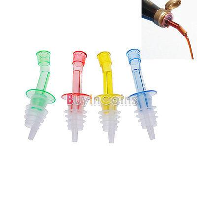 4XDispenser Liquor Bottle Pourer Wine Oil Flow Olive Pour Spout Stopper Set RS