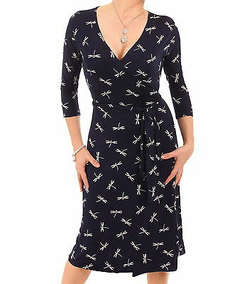 New Navy Blue Dragonfly Print Genuine Wrap Dress - V Neck - 3/4 Length Sleeves