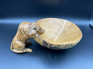 """African Hand Carved & Painted Wooden Leopard Handle Bowl, 6 3/4"""" D, 4"""" High"""