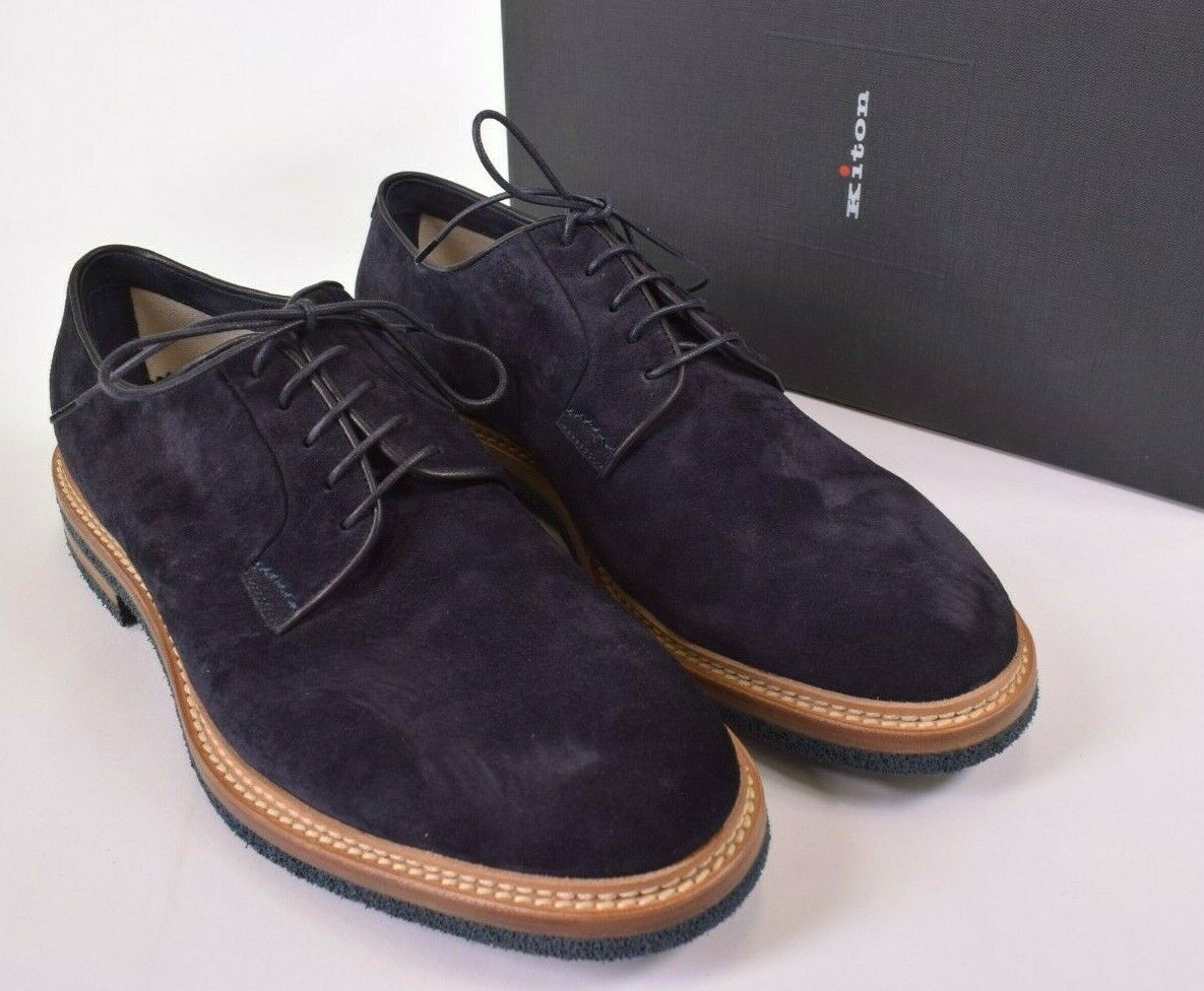 Kiton NWB Suede Derby Shoes Size 11 M in Navy Blue-ish Plum ,850