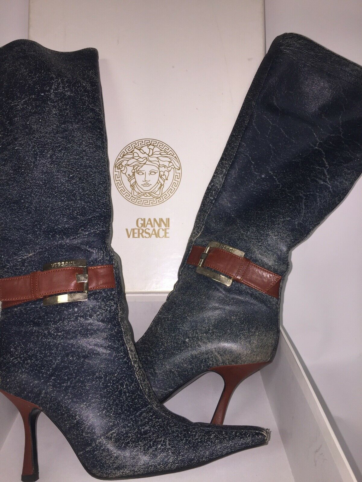 Gianni Versace leather denim color knee high boots size EU 38