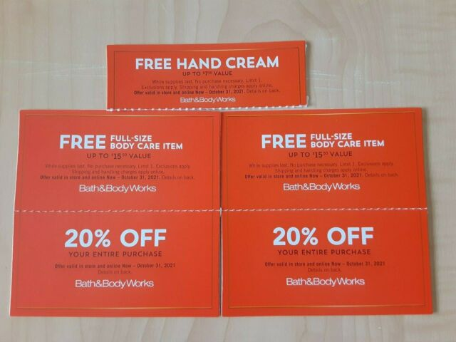 expire 10/31/2021 5x Bath & Body Works Coupons  Body crème Care + 20% off