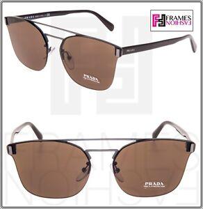 9b5f4bd79b3a6 PRADA MOD Shield PR67TS Gunmetal Brown Metal Mirror Sunglasses 67T ...