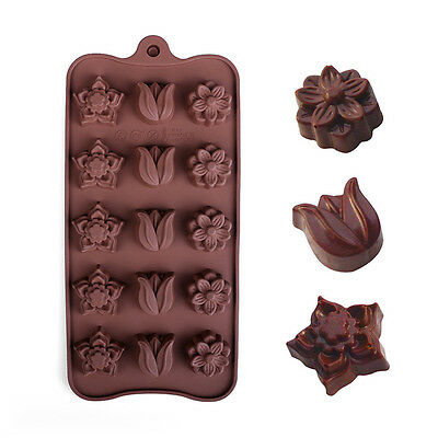 Silicone 15-Flower Cake Decorating Mould Candy Cookies Chocolate Baking Mold
