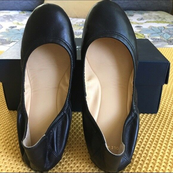 NIB COLE HAAN D41094 MANHATTAN BALLET Black Leather Flats size. 6 FREE GIFT LOOK