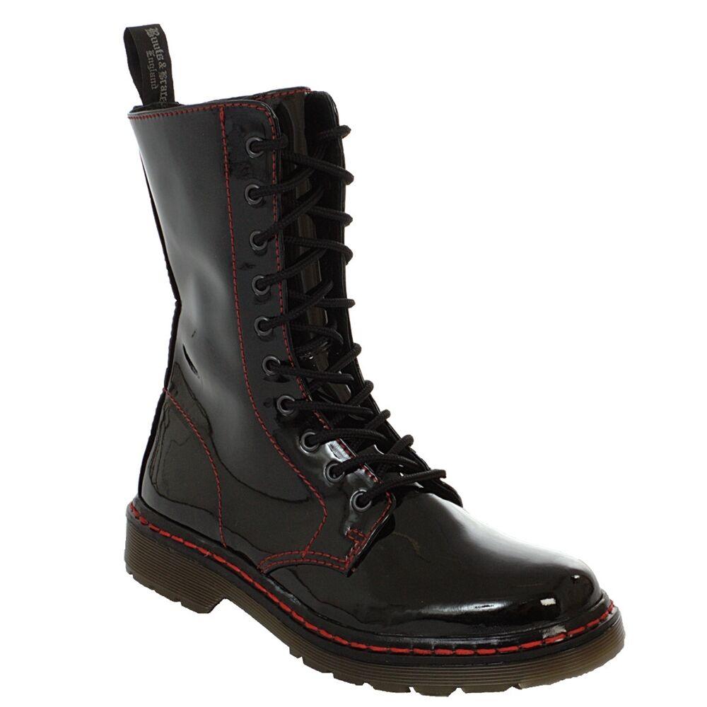 Boots & BRACES - Easy 10 Agujeros TR Sangriento Patente black botas RANGERS