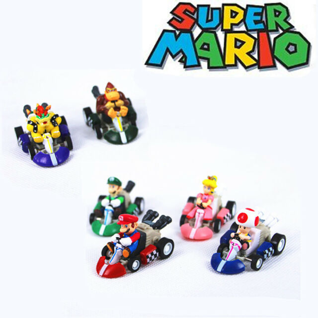 Super Mario Bros Kart Pull Back Car Figures Action Figure Toys Kids Gift 6 PCS