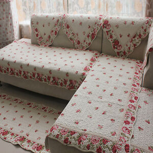 shabby chic cotton quilted rose soft mat rug runner sofa couch ...
