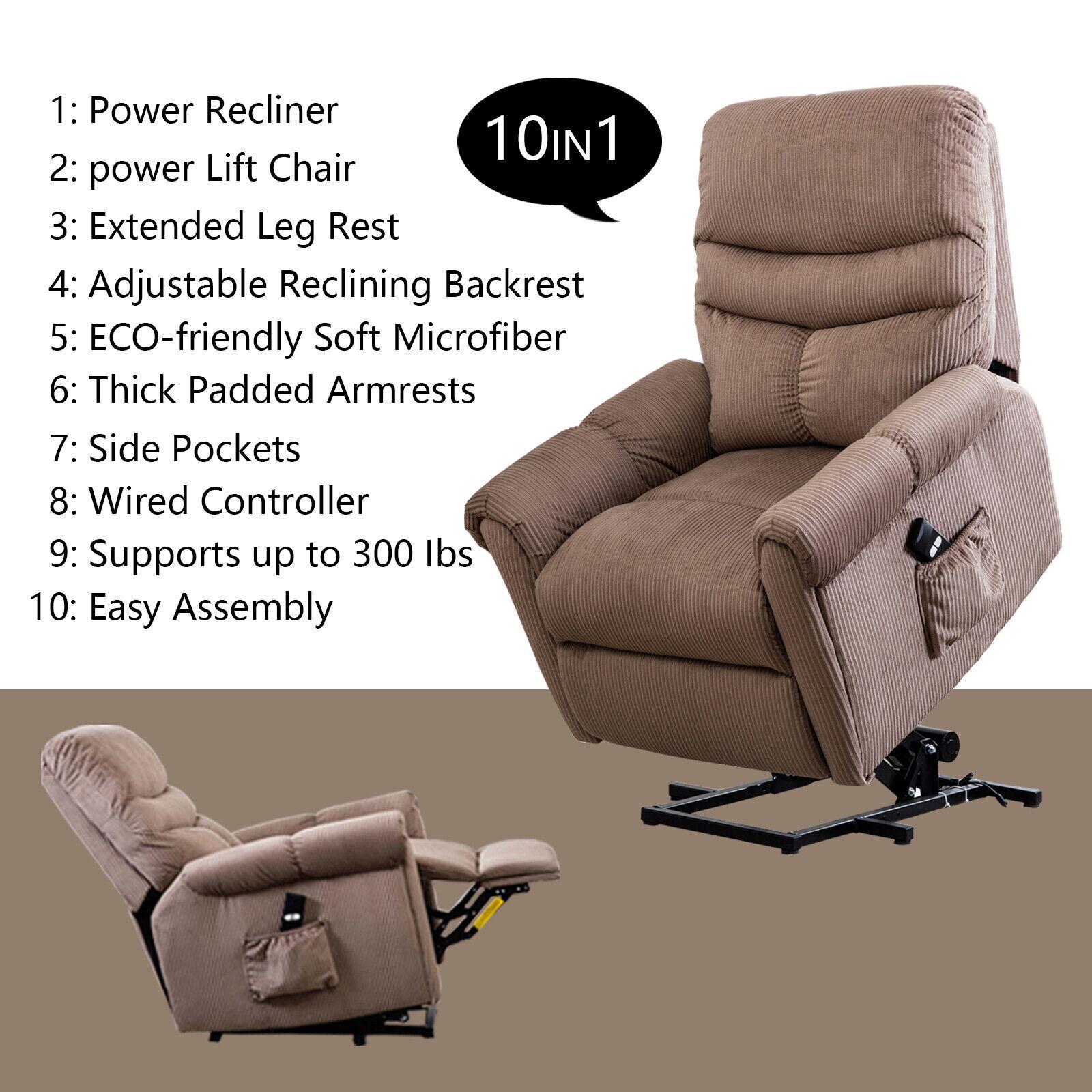 Electric Power Lift Chair Recliner Antiskid Fabric Reclining Lazy Man Sofa wRC