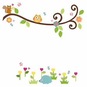 SCROLL-BRANCH-65-BiG-Wall-Stickers-Tree-Leaves-Owl-Room-Decor-Decals-Baby-Kids