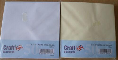 "Craft UK 6/""x6/"" Sobres X 100 100gsm Blanco Y Marfil x 50 cada uno"