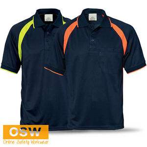 Mens ladies modern cool hi vis fluoro panel polo office for Mens work polo shirts