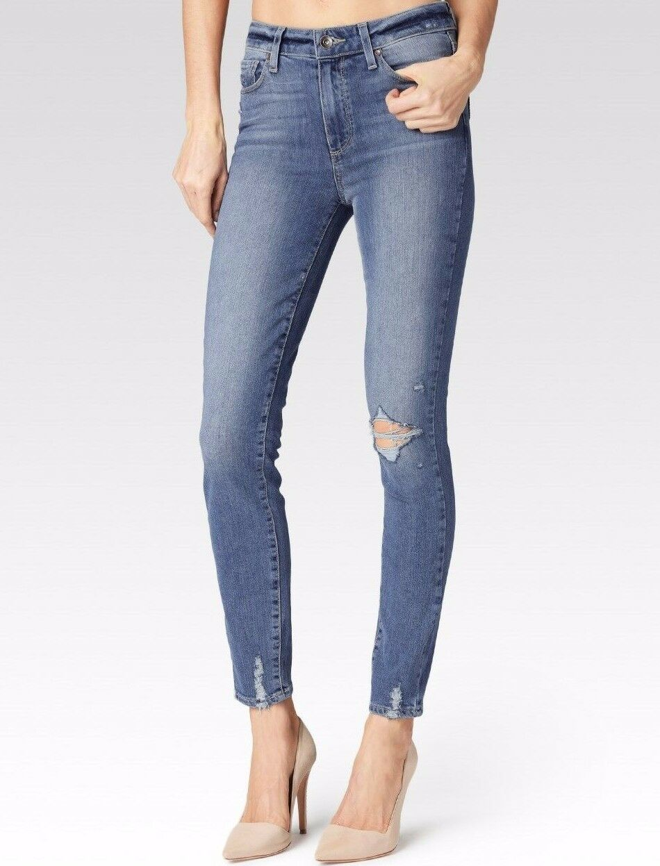 NWT PAIGE Sz28 HOXTON HIGH-RISE ULTRA SKINNY-STRETCH JEANS PRYOR DESTRUCTED
