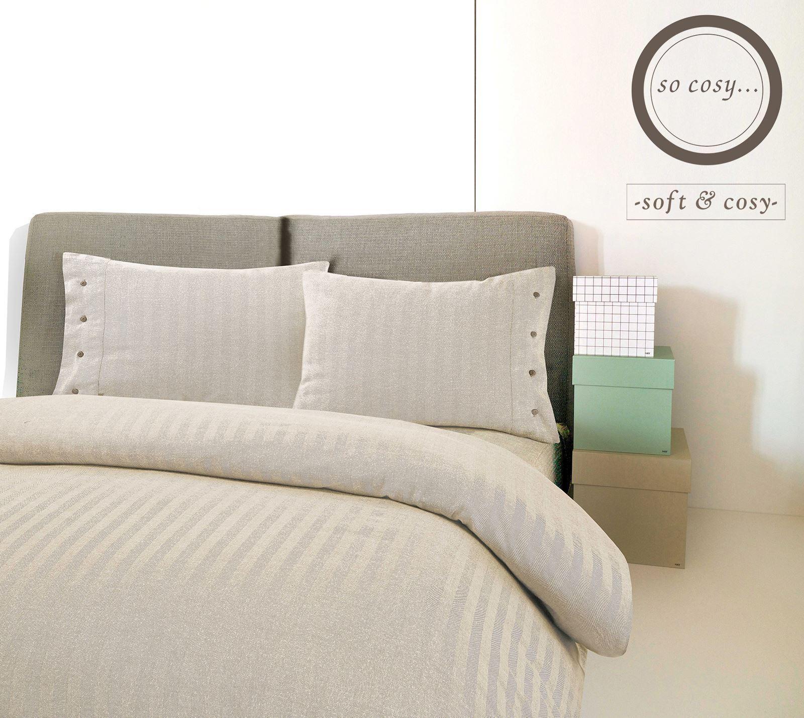 Herringbone Woven Beige 100% Brushed Cotton Flannel Flannelette Duvet Startseite Set