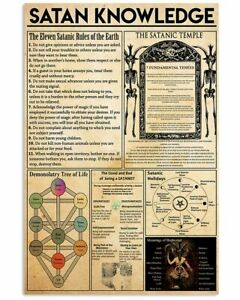 Classic Vintage Wall Art Poster Satanic Knowledge Poster Print 24x36 Inches