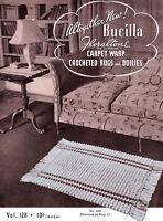 Bucilla 128 C.1939 Carpet Warp Crochet Rugs & Doilies Vintage Patterns For Home