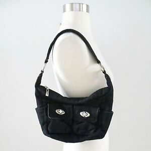 Image Is Loading Black Pinstriped Print Small Size Utility Shoulder Bag