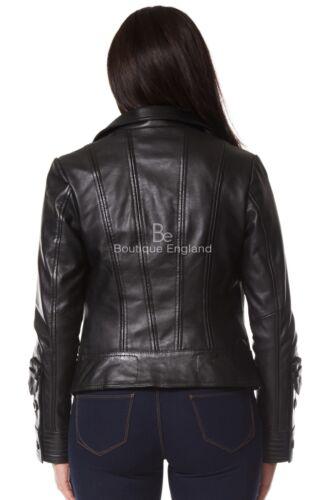 Ladies Biker Leather Jacket Black SOFT REAL LEATHER Designer Wear 4110