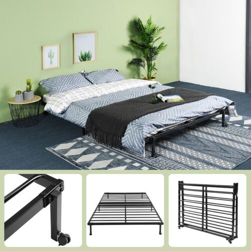 4FT6 Double Metal Fold up Bed Adult Guest Visitor Compact Bed Folding Bed Black