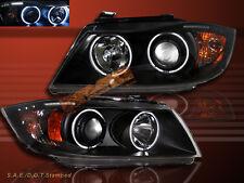 06 07 08 BMW 3-SERIES E90 E91 4DR/WAGON CCFL HALO PROJECTOR HEADLIGHTS BLK