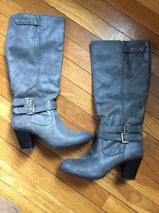 grey high heel knee boots size 9 with buckle accents  ebay