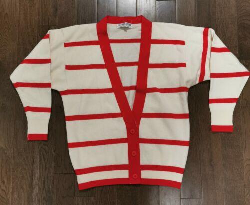 Gloria Sachs Striped Cashmere Cardigan Sweater Sz