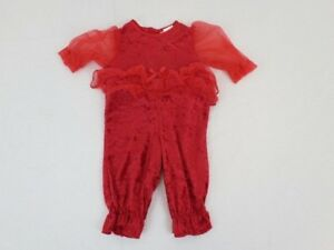 Laura-Dare-Baby-One-Piece-Outfit-Size-3-Month-Red-Ruffle-Made-In-USA