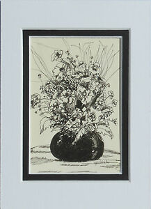 Flowers in Vase original pen and ink matted