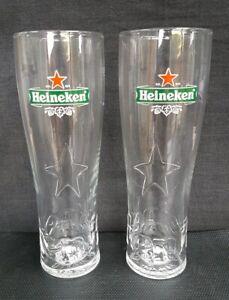 TWO-HEINEKEN-LAGER-BEER-EMBOSSED-PINT-GLASSES-NEW-IDEAL-FOR-HOME-BAR-PUB