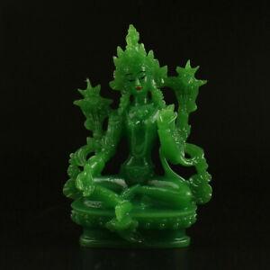 13CM-Tibet-Tibetan-Buddhism-Resin-Jade-Lotus-Green-Tara-Kwan-yin-Guan-Yin-Statue