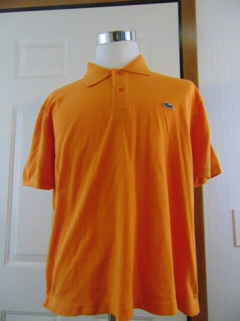 LACOSTE Polo Short Sleeve Golf Shirt Orange Mens Size 7 XL