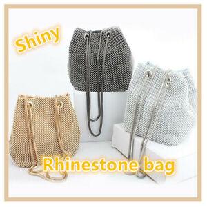 Women-039-s-Evening-Bag-Full-Rhinestones-Bucket-Bag-Shining-Crossbody-Bag-Shoulder