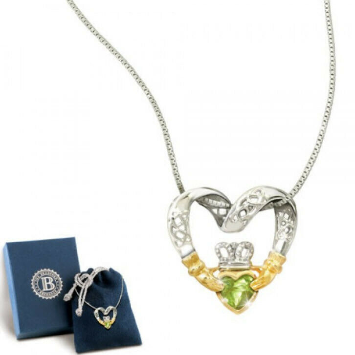 'Irish Love' Celtic Knot & Claddagh Peridot heart Pendant Exclusive Pendant