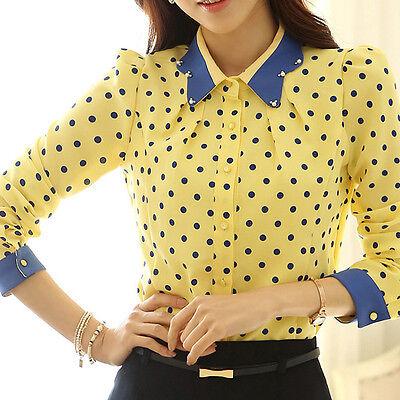 Korean Fashion Women Lapel Tops Long Sleeve Button Down Shirt Casual Blouse E50