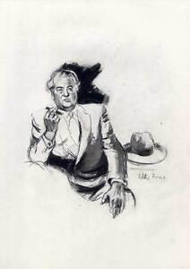 1906-1969 Art Industrieller-arbeitgeber-portrait-kohlezeichnung Von Victor Friese