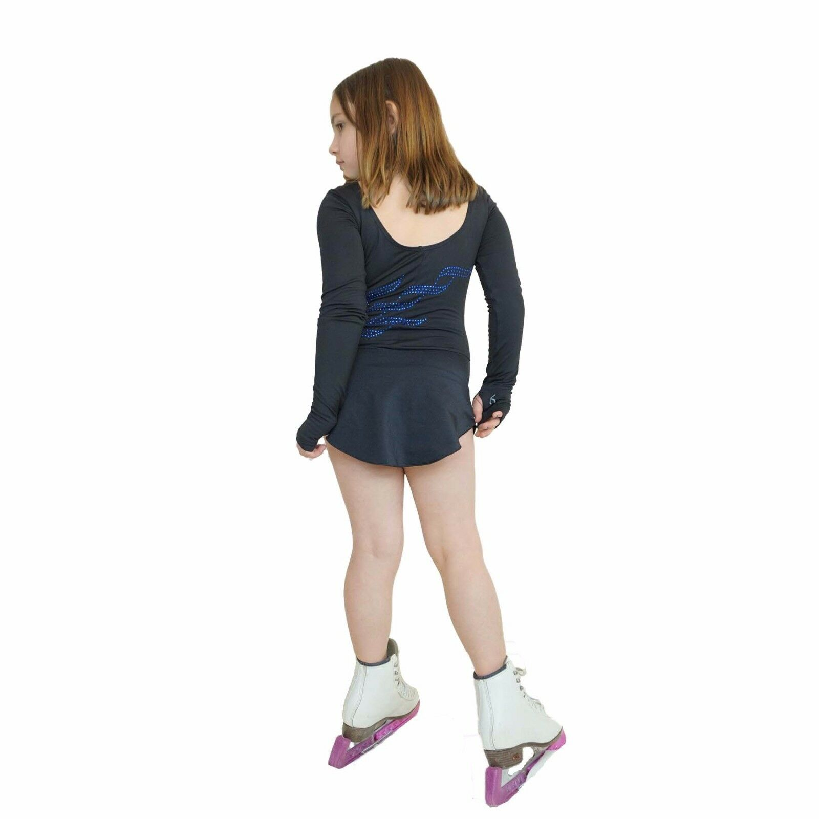 Ice Figure Skating Robe pratique Sans Pantalon Pantalon VCD39 triple twist bleu rose