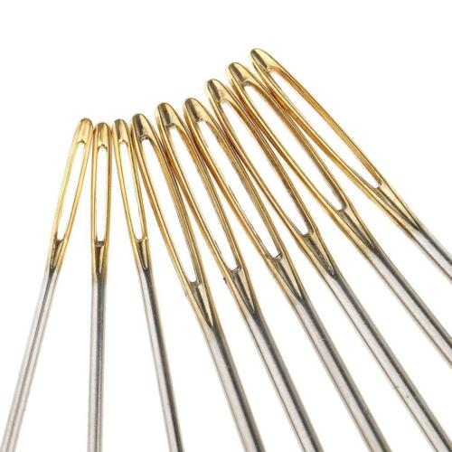 9pcs Large Eye Hand Sewing Needles Embroideried Threading Needles DIY Gold